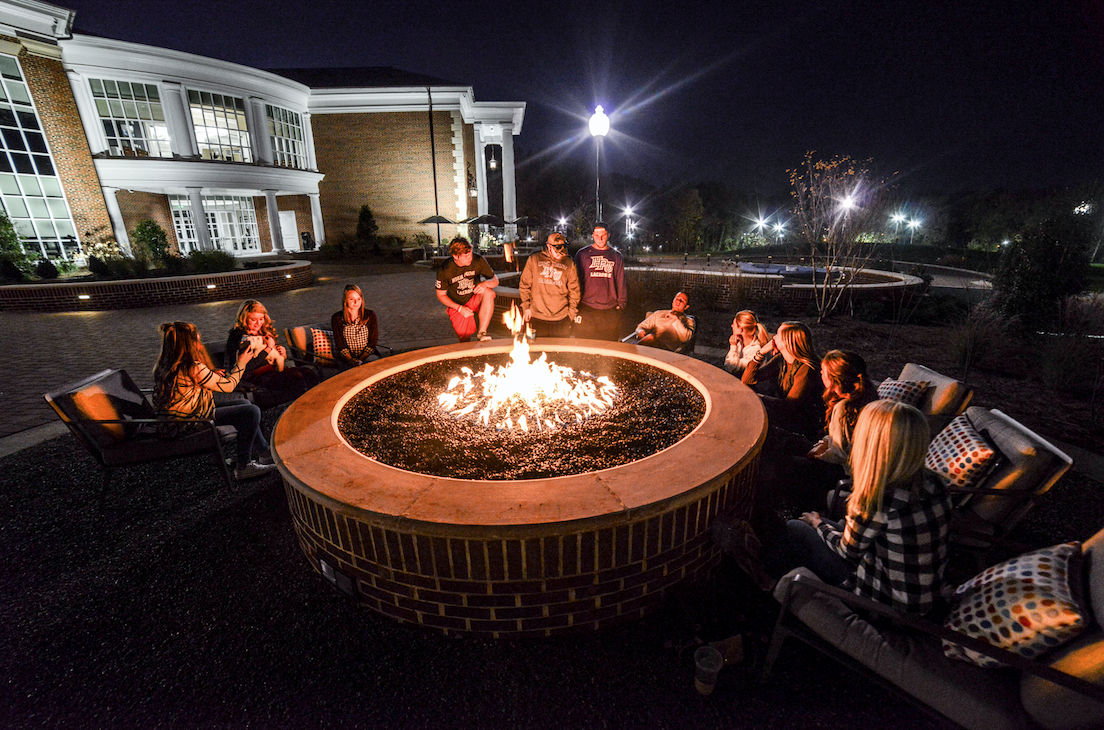 Fire Pit Outside Of Cottrell Hall At High Point University College throughout dimensions 1104 X 730