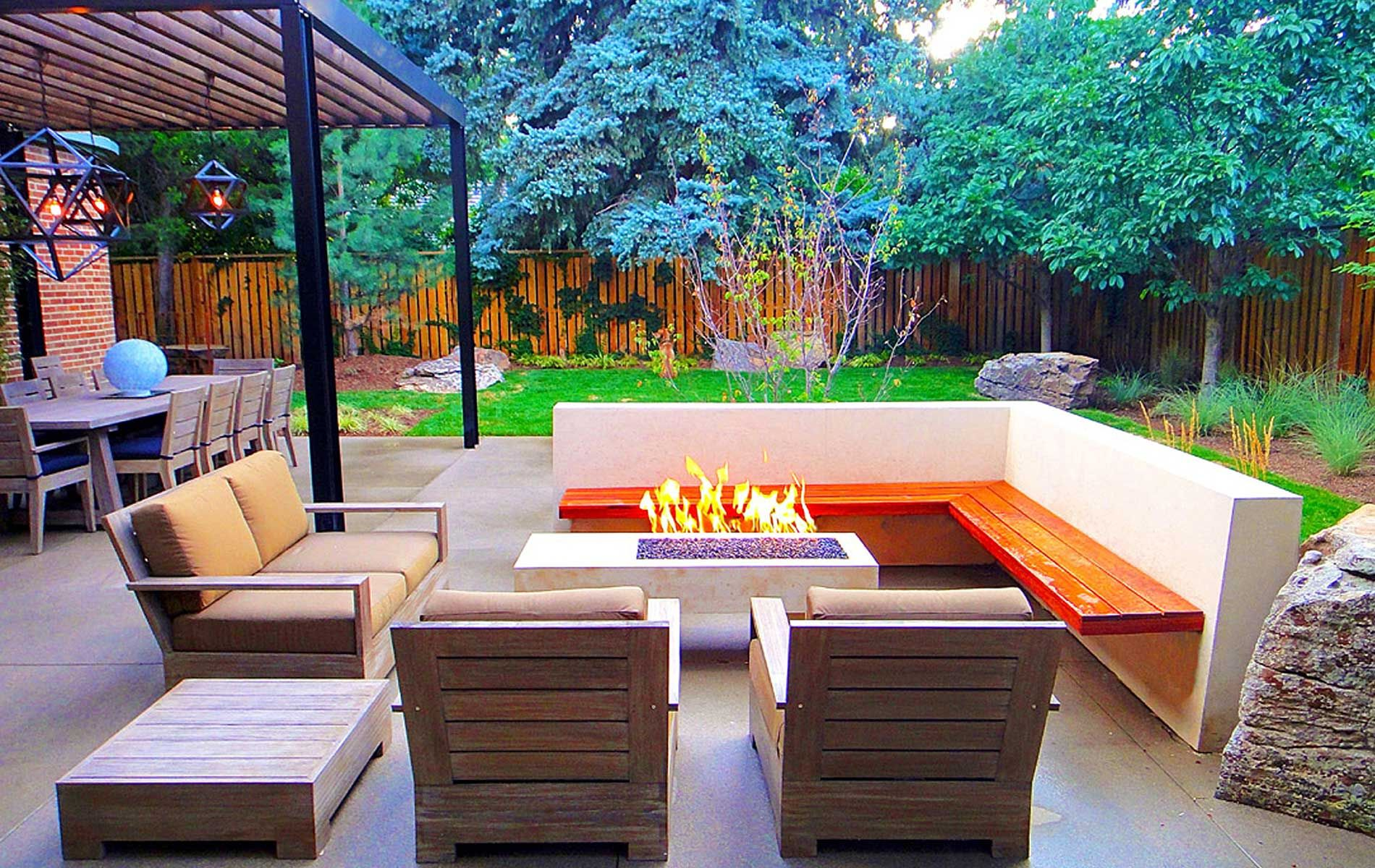 Fire Pit Patio With Pure White Concrete And Cantilevered Built In with regard to size 1900 X 1200