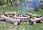 Fire Pit With Primitive Log Benches Leisure Fire Pit Bench with size 4288 X 2848