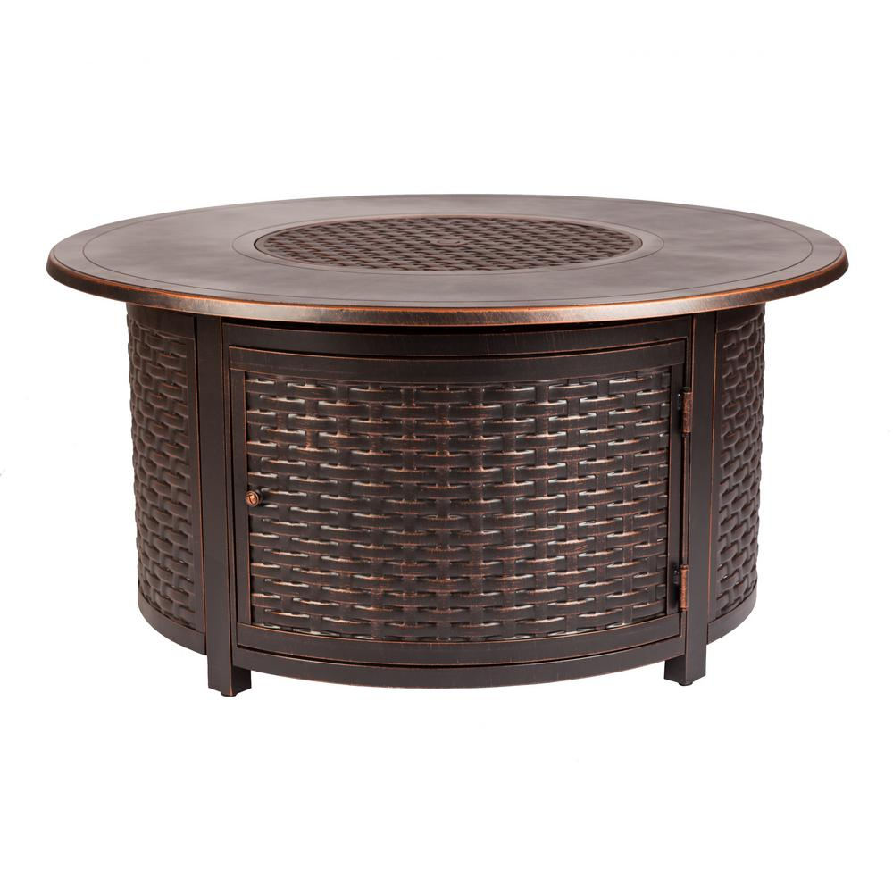 Fire Sense Florence 47 In X 24 In Round Aluminum Propane Fire Pit for proportions 1000 X 1000