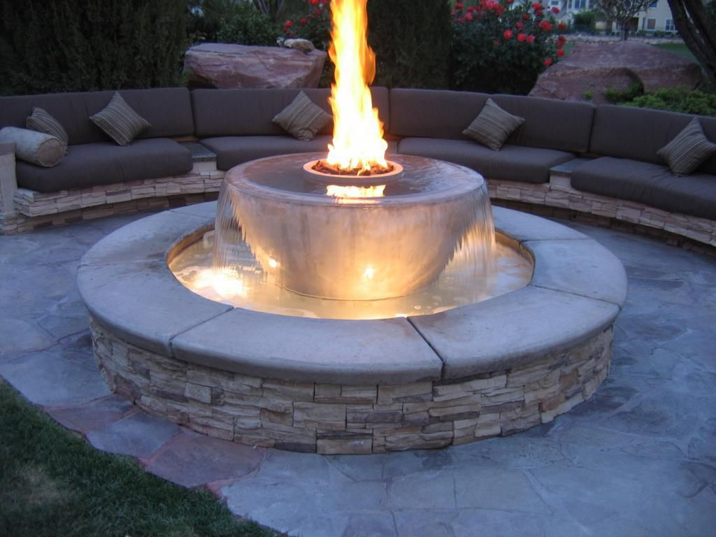 Firepit Water Feature Fountain Outdoor Fireplaces Indoor with measurements 1024 X 768