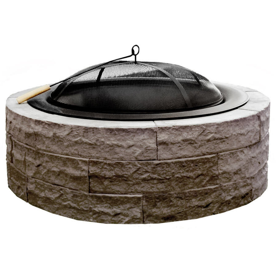 Four Seasons Outdoor Product 42 In W Tan Stone Wood Burning Fire Pit regarding size 900 X 900