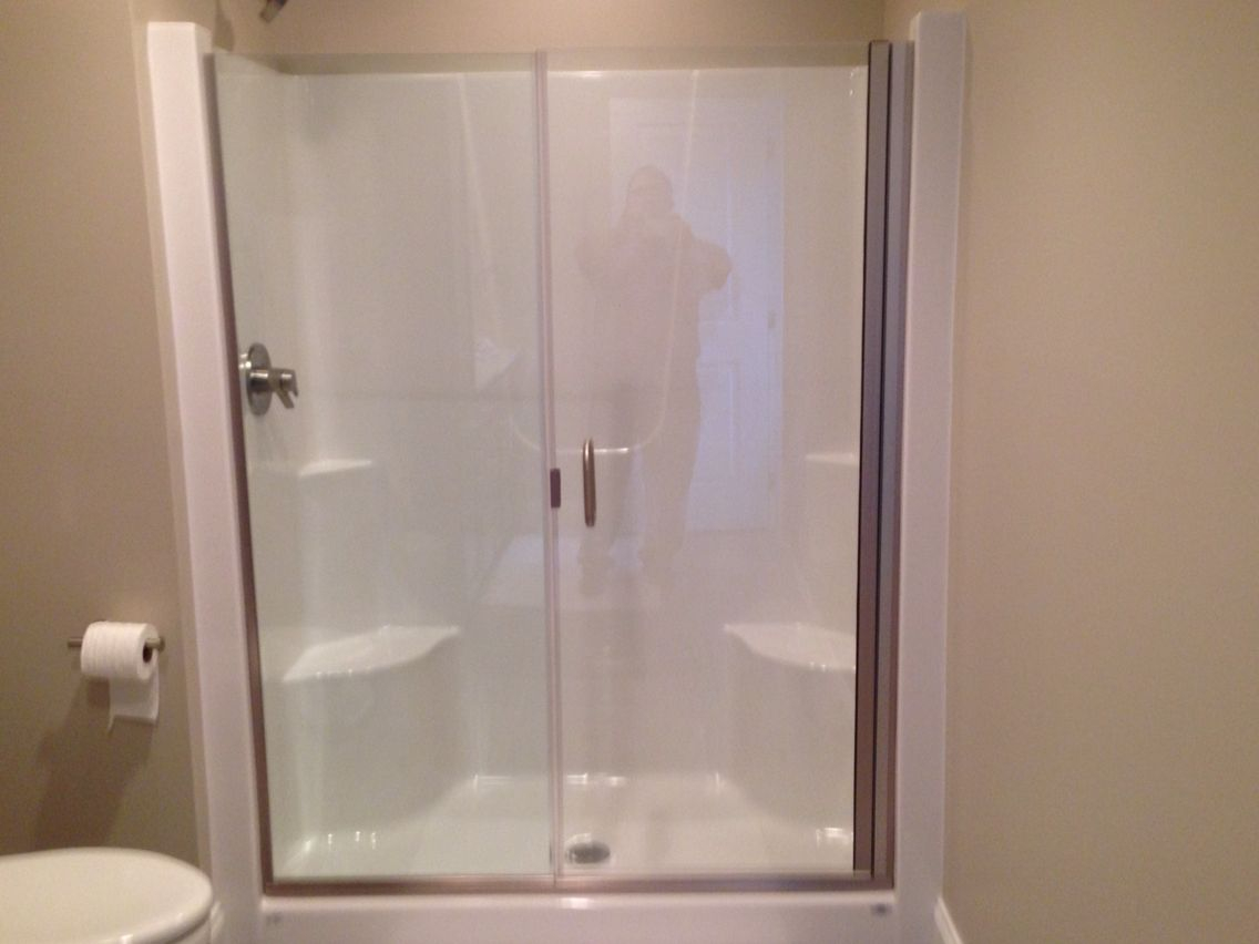 Frameless Shower Door And Panel On A Fiberglass Shower Stall with proportions 1136 X 852
