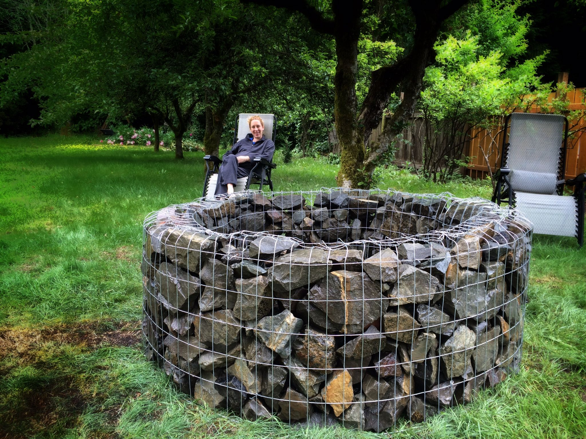 Gabion Fire Pit Diy Metal Fabric Produces A Beautiful Glow At for proportions 2048 X 1536