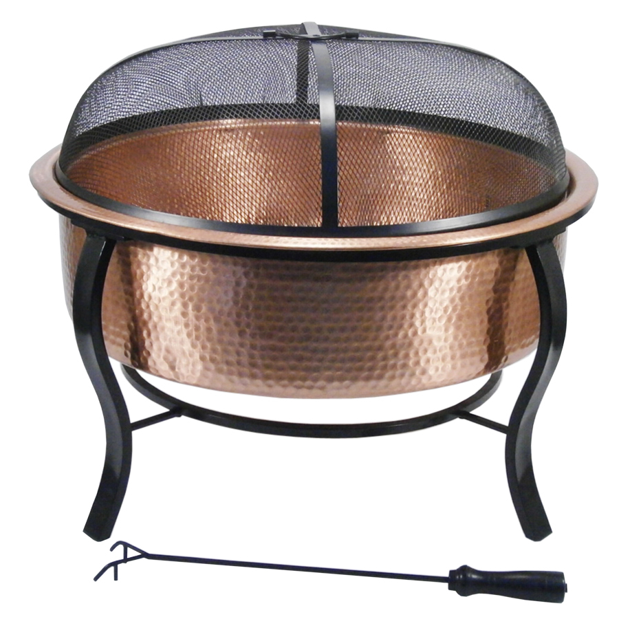 Garden Treasures 285 In W Polished Copper Wood Burning Fire Pit At in sizing 900 X 900