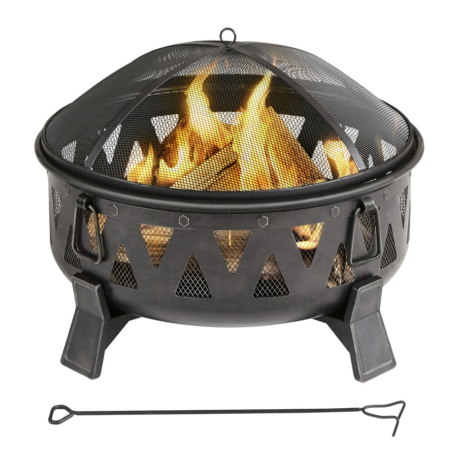 Garden Treasures 2992 In W Antique Black Steel Wood Burning Fire pertaining to sizing 900 X 900