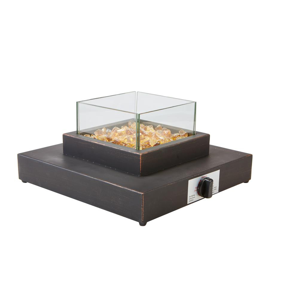 Hampton Bay 8000btu Antique Bronze Portable Table Top Gas Fire Pit with regard to sizing 1000 X 1000