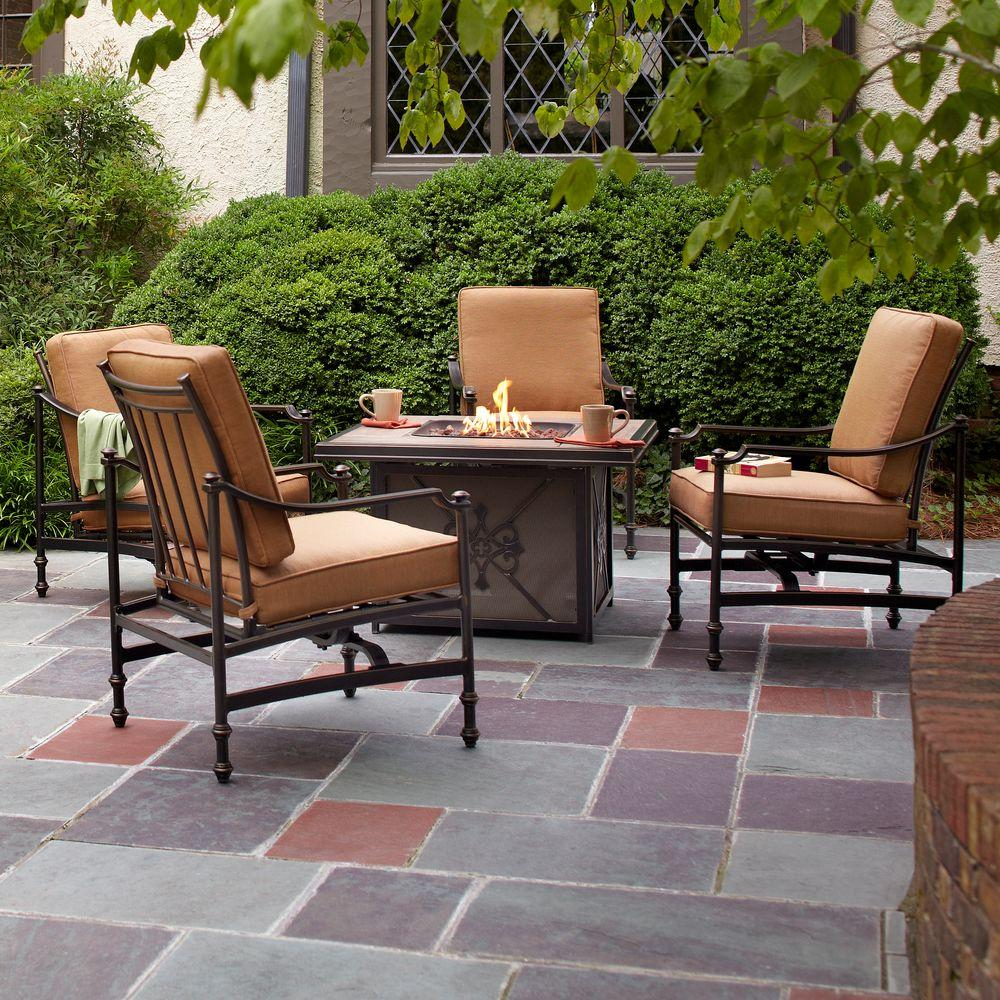 Hampton Bay Niles Park 5 Piece Gas Fire Pit Patio Seating Set With with measurements 1000 X 1000