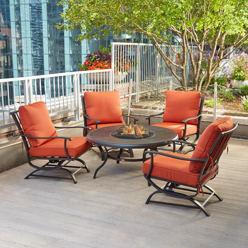 Hampton Bay Redwood Valley 5 Piece Metal Patio Fire Pit Seating Set with measurements 1000 X 1000