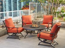 Hampton Bay Redwood Valley 5 Piece Metal Patio Fire Pit Seating Set within size 1000 X 1000
