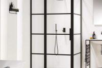 Harbour Status Matt Black Framed Easy Clean 8mm Pivot Shower Door intended for sizing 1200 X 1200