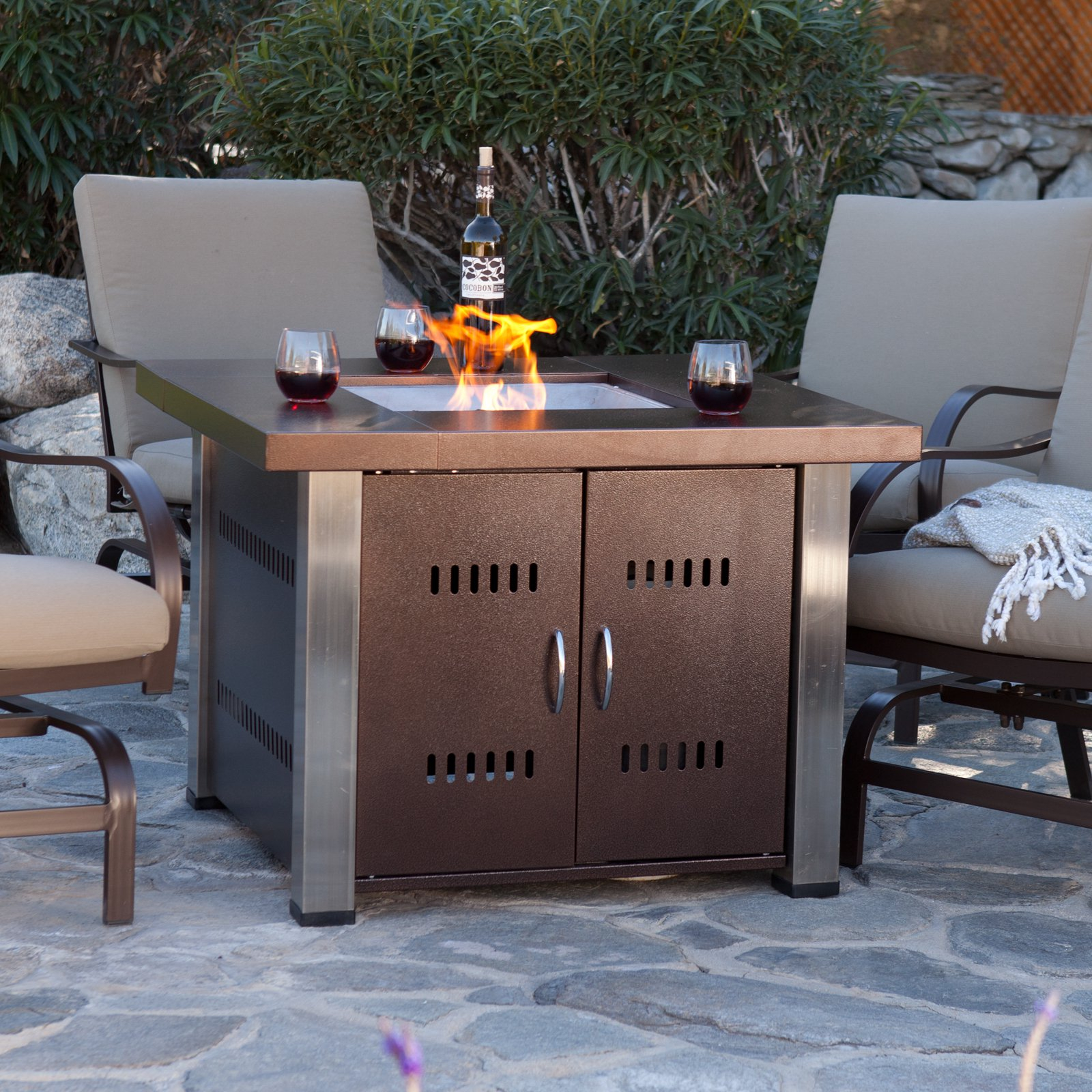 Hiland Fire Pit Hammered Bronze And Stainless Steel Finish Walmart with sizing 1600 X 1600