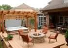 Hot Tub And Stone Firepit On Deck Like The Pergola Not Sure About regarding dimensions 1430 X 957