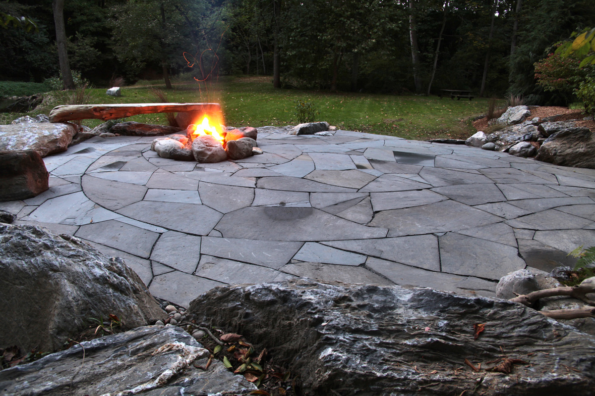 Indian Run Landscaping Natural Flagstone Patio With Fire Pit with size 1200 X 800
