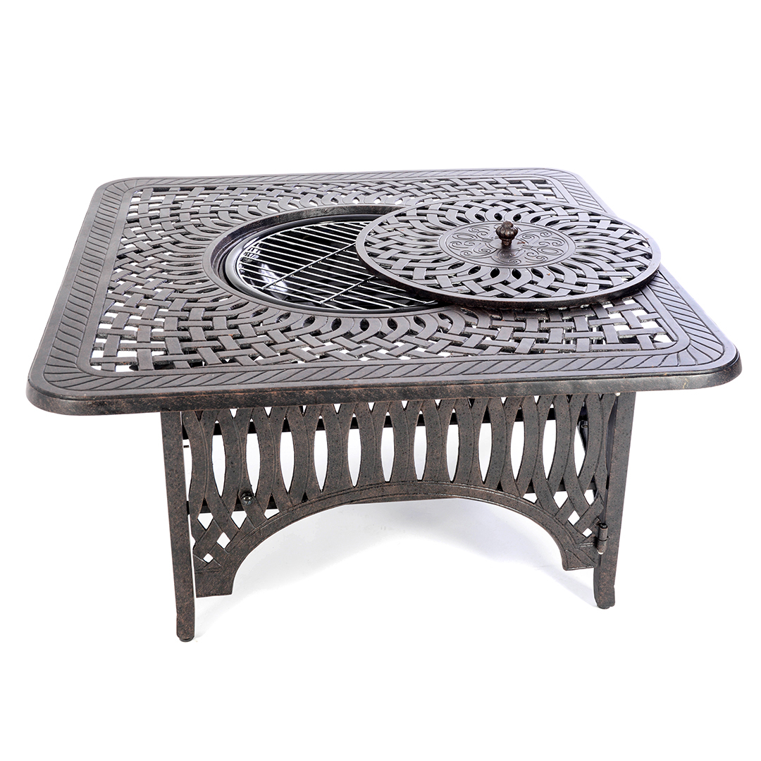 Kensington Firepit Ice Grill Square Firepit Table Regatta throughout size 1080 X 1080
