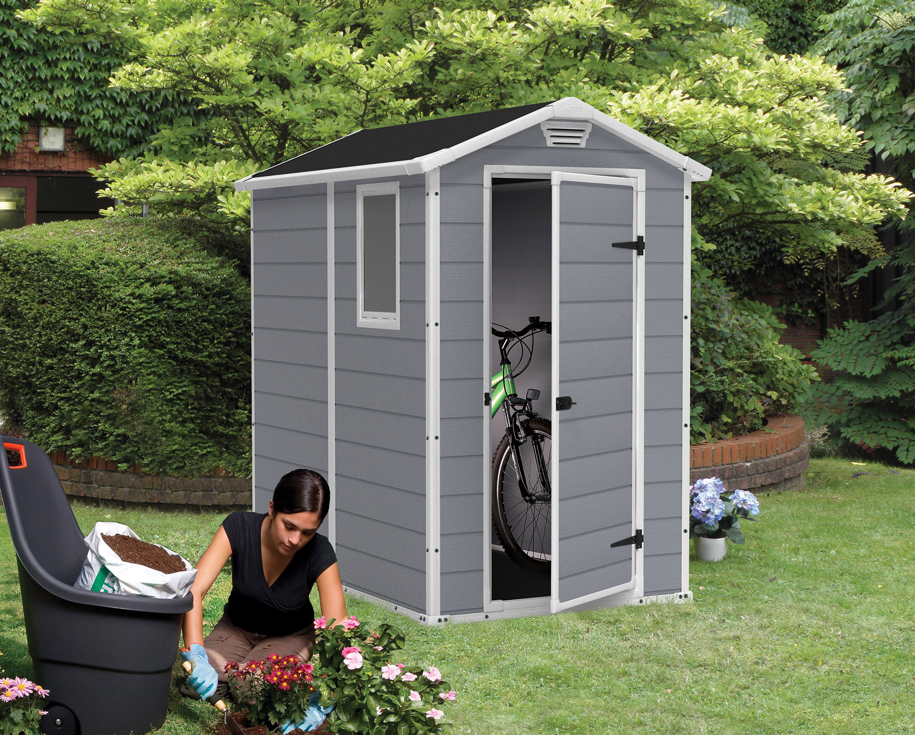 Keter Manor 4 X 6 Resin Storage Shed All Weather Plastic Outdoor throughout size 1867 X 1500