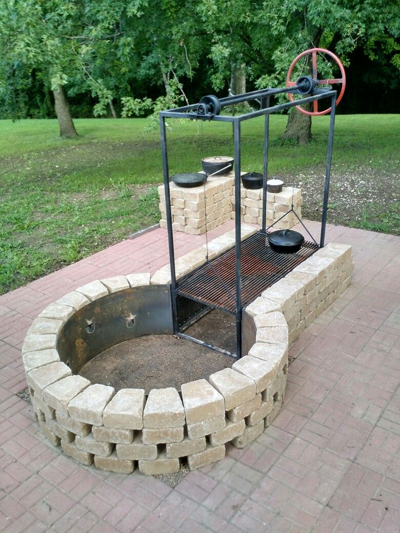 Keyhole Fire Pit With Adjustable Grille Bbq Grills Smokers for dimensions 780 X 1040