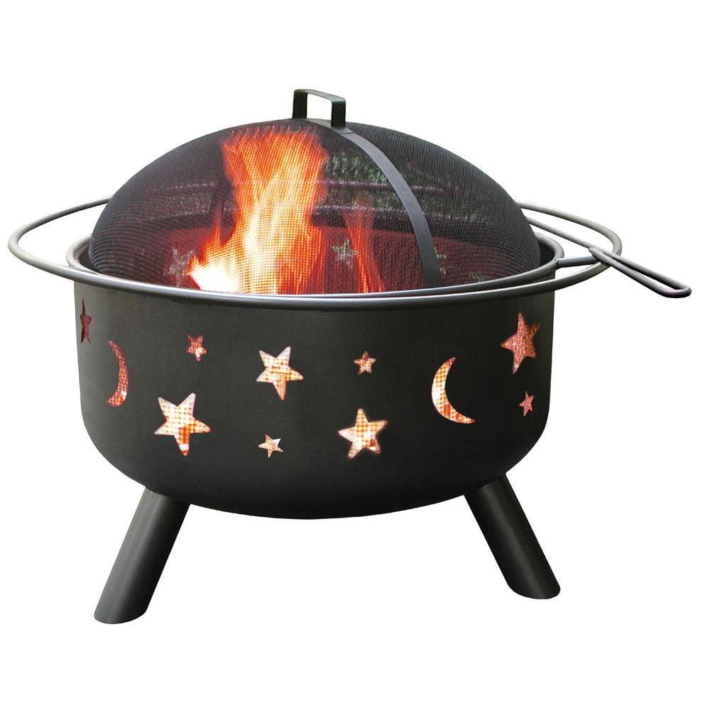 Landmann 24 In Big Sky Stars And Moons Fire Pit In Black With within measurements 1000 X 1000