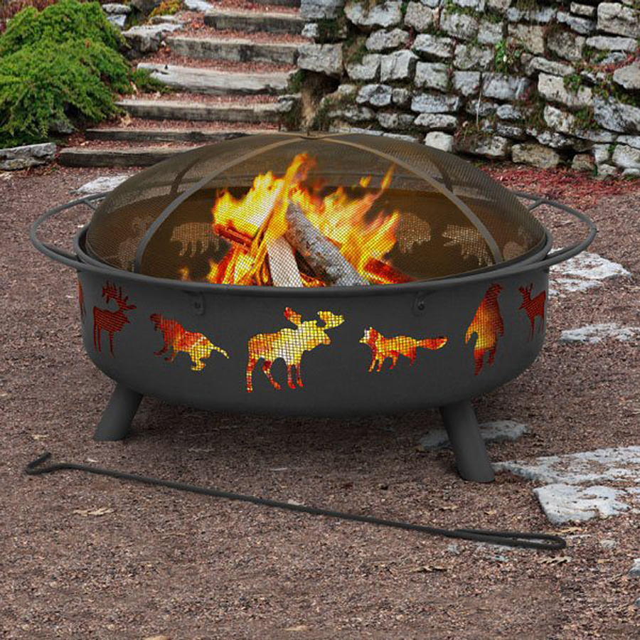 Landmann Usa Super Sky 43 In W Black Steel Wood Burning Fire Pit At with proportions 900 X 900