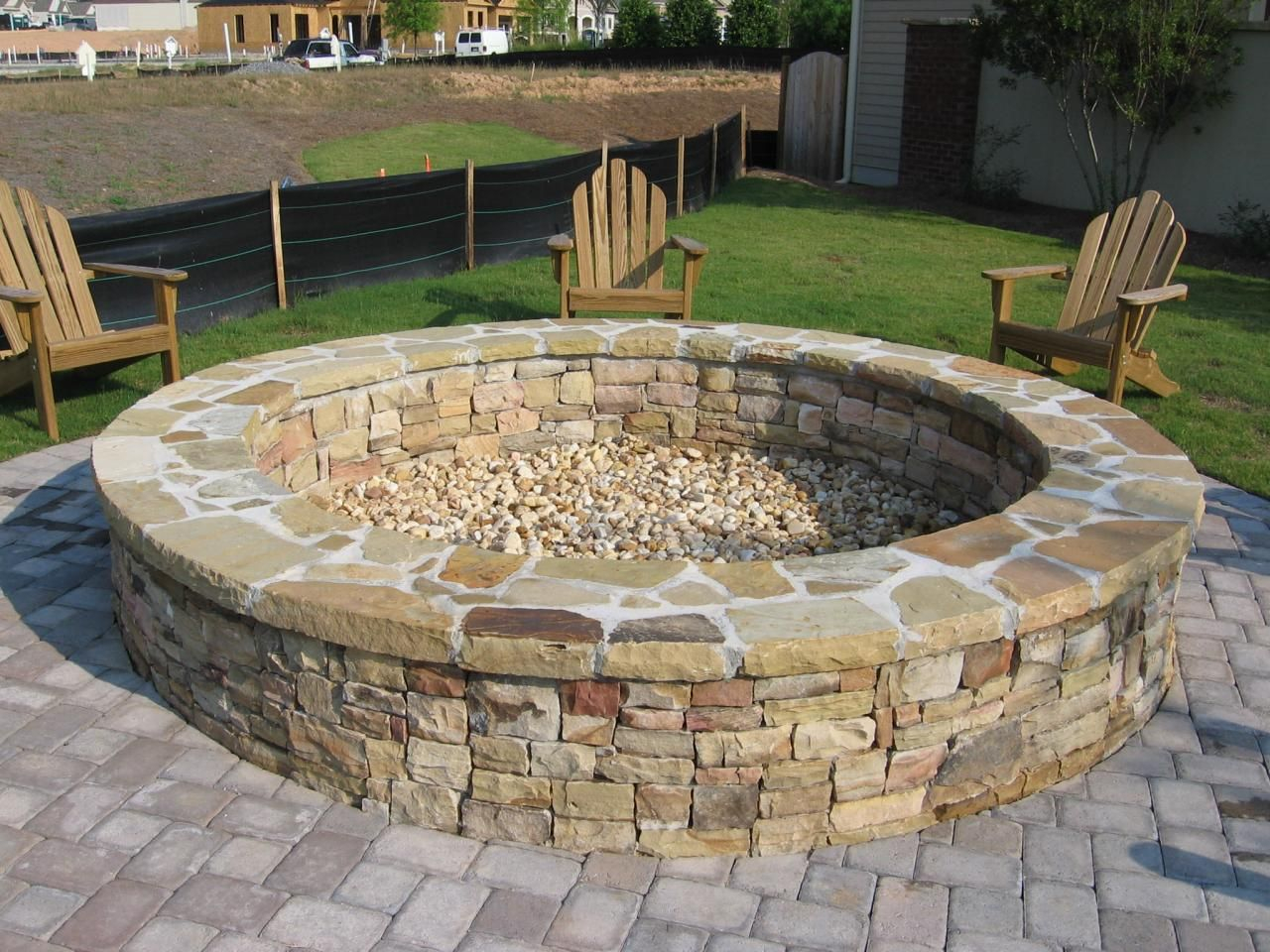 Large Fire Pit Round Stone Fire Pit And Bench With Large Wooden in sizing 1280 X 960