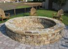 Large Fire Pit Round Stone Fire Pit And Bench With Large Wooden pertaining to size 1280 X 960
