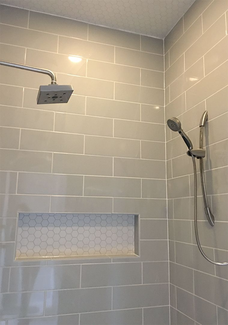 Linear Light Gray Shower Wall Tile With Hexagon Mosaic Shelf And throughout dimensions 759 X 1080