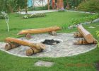 Log Benches Surrounding A Pit In Stone Outdoorfirepitideas for size 2560 X 1920