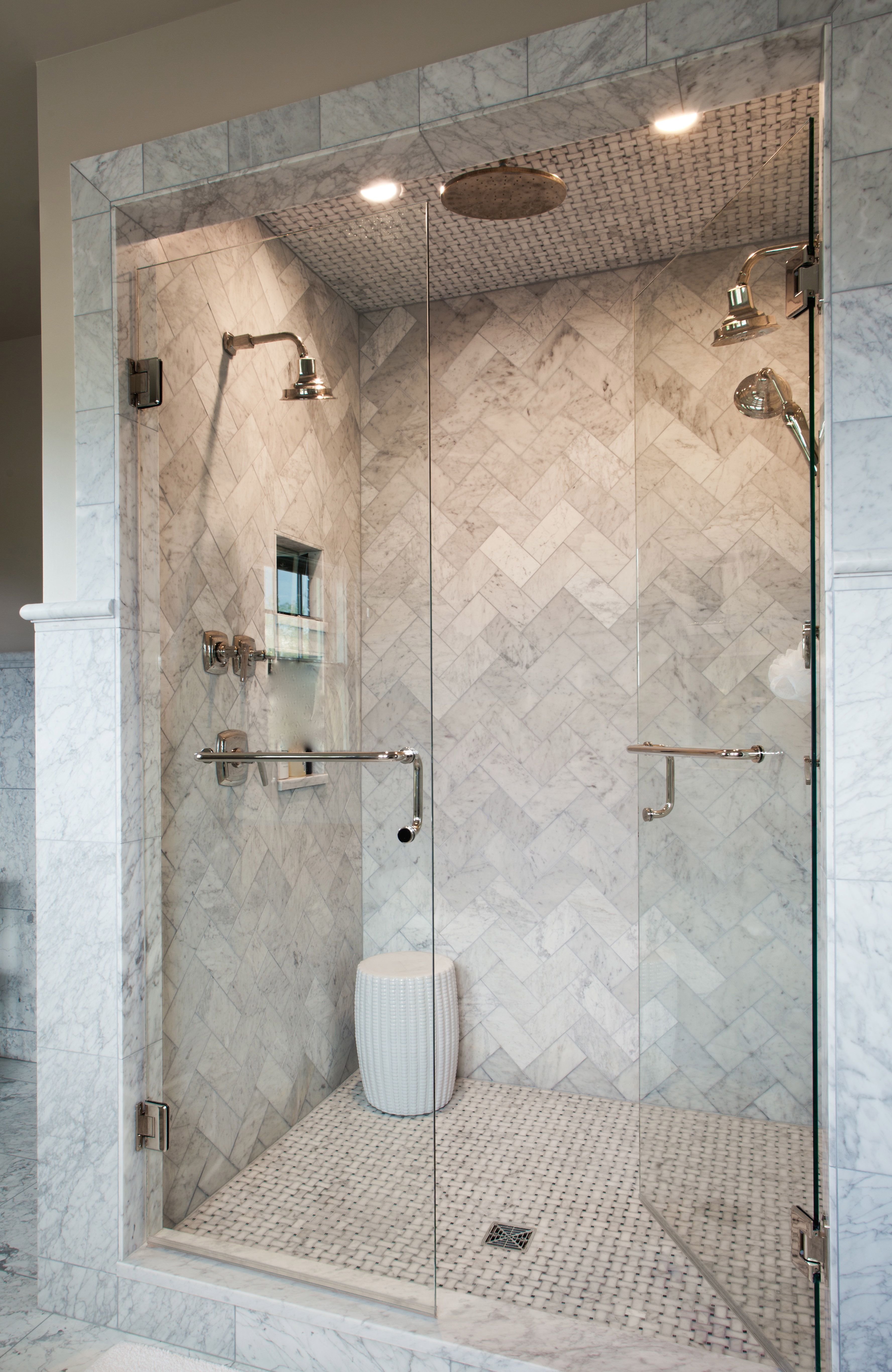 Love This Marble Herringbone Shower Source Marble Tiles Like This pertaining to sizing 3553 X 5466