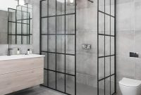 Lovely Black Aluminium Shower Frame Door With Big Vanity Mirror throughout size 1080 X 1080