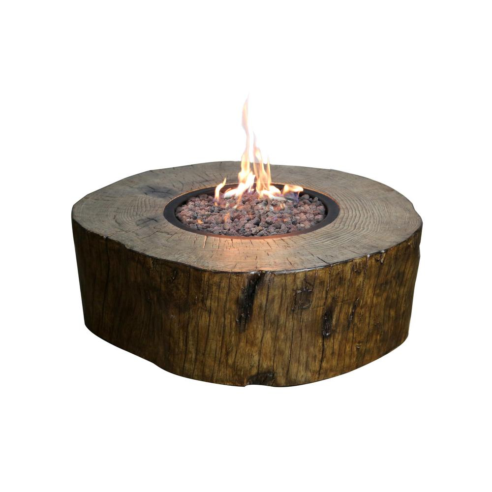 Modeno Blazing Timber 37 In Round Eco Stone Propane Fire Pit In throughout sizing 1000 X 1000
