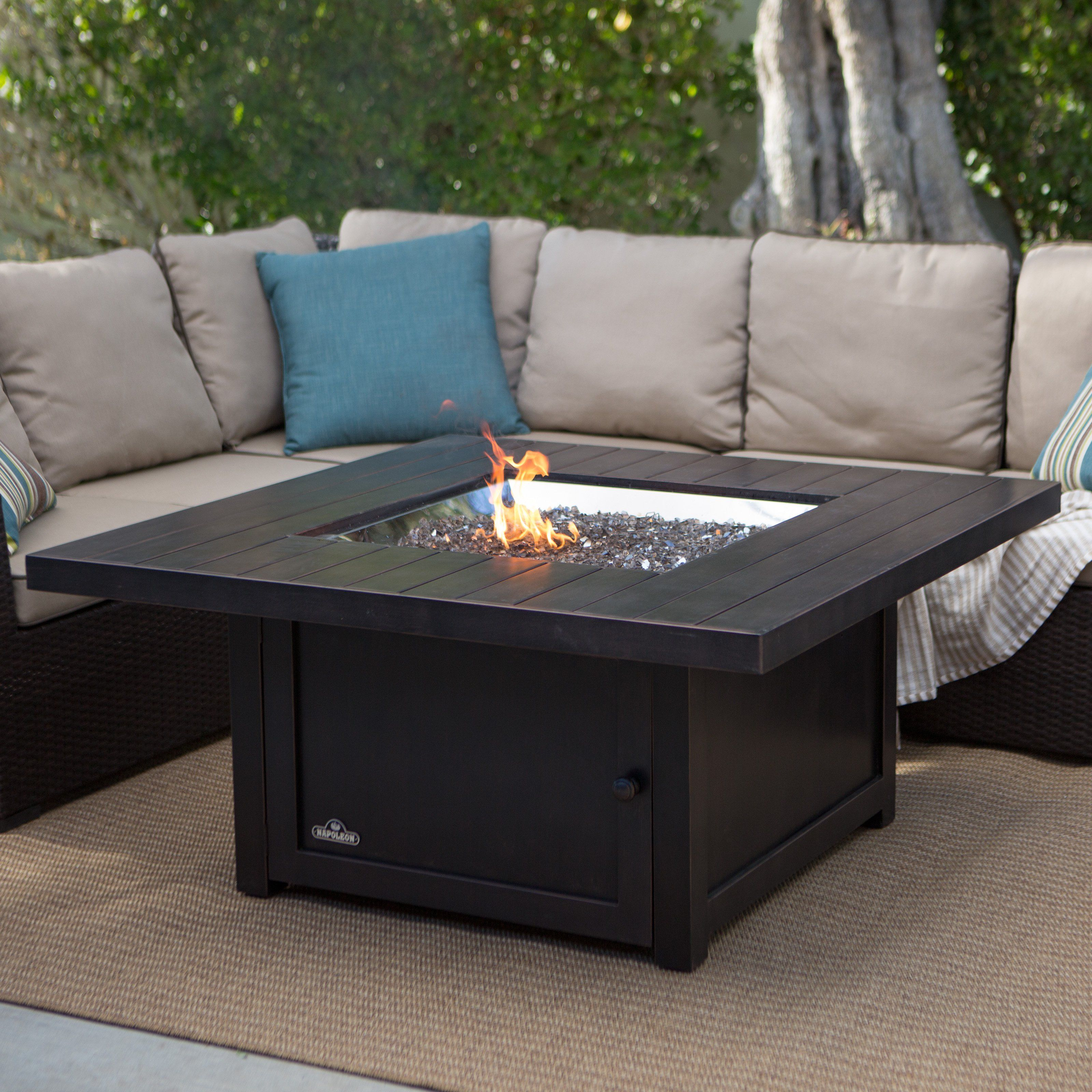 Napoleon Square Propane Fire Pit Table Turn The Party Up A Notch throughout measurements 3200 X 3200