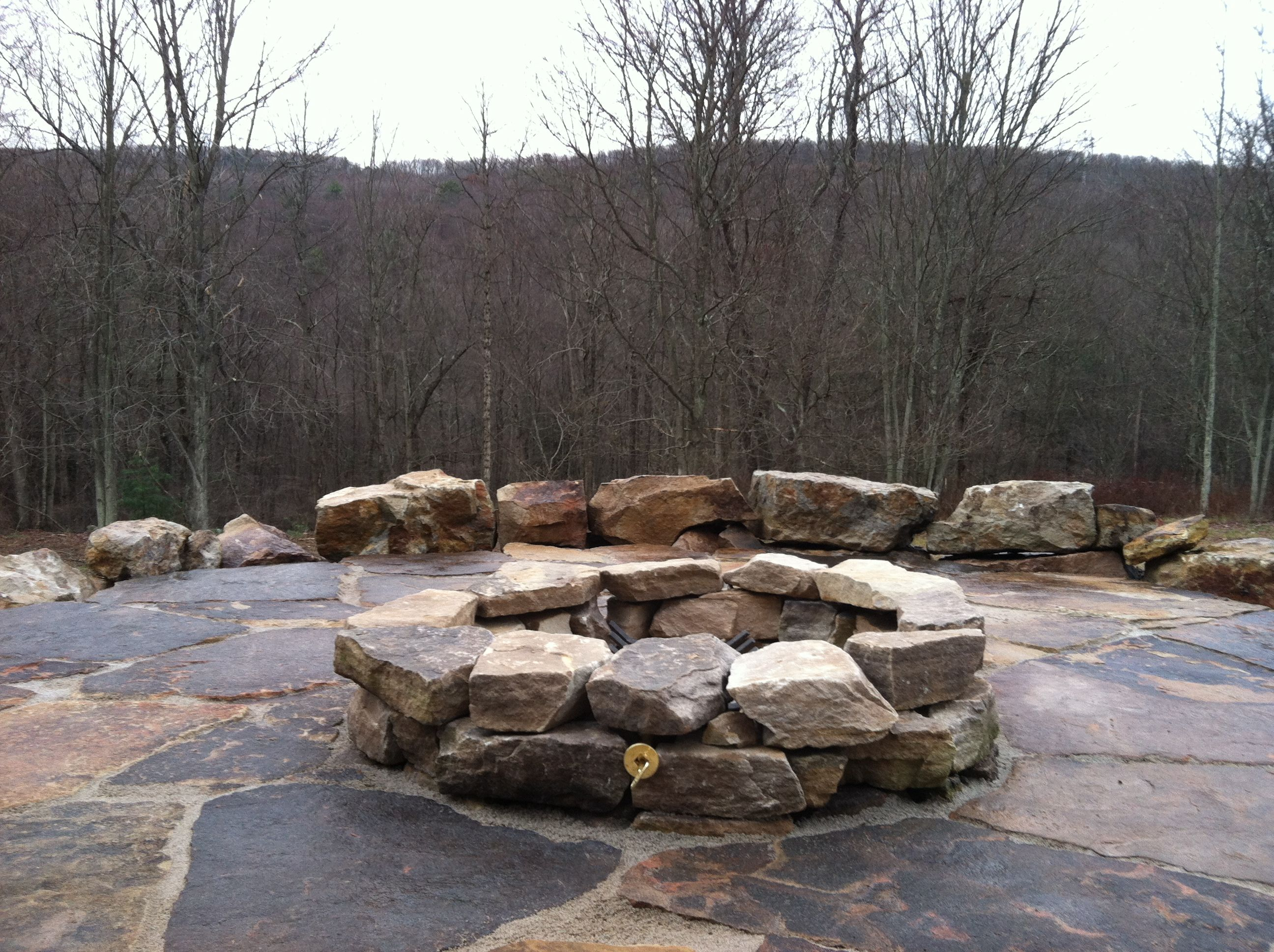 Natural Boulder Firepit Slate Patio And Boulder Seat Wall with size 2592 X 1936