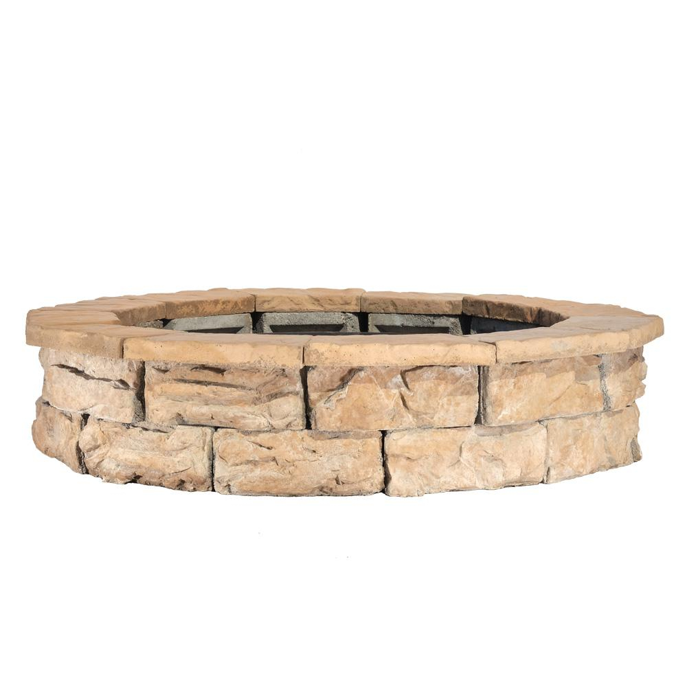 Natural Concrete Products Co 44 In Fossill Brown Round Fire Pit Kit for size 1000 X 1000