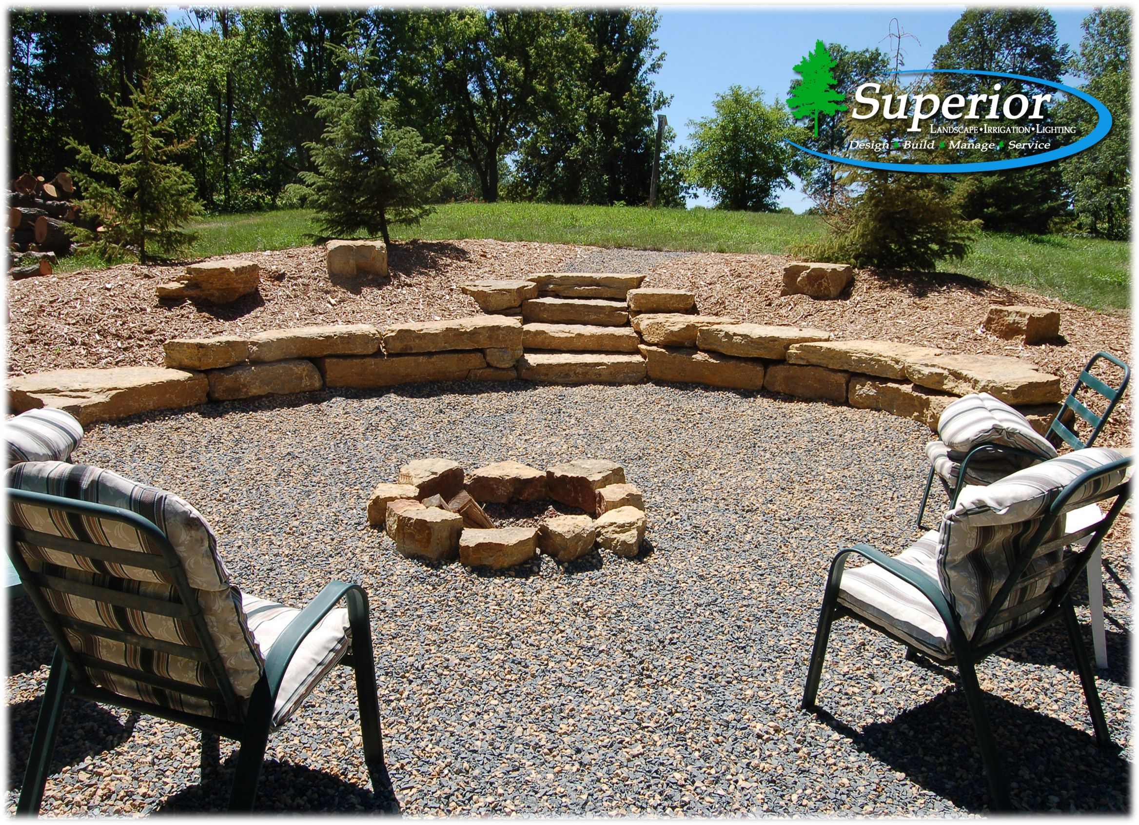 Natural Fire Pit Area With Limestone Walls And Crushed Trap throughout size 2336 X 1692