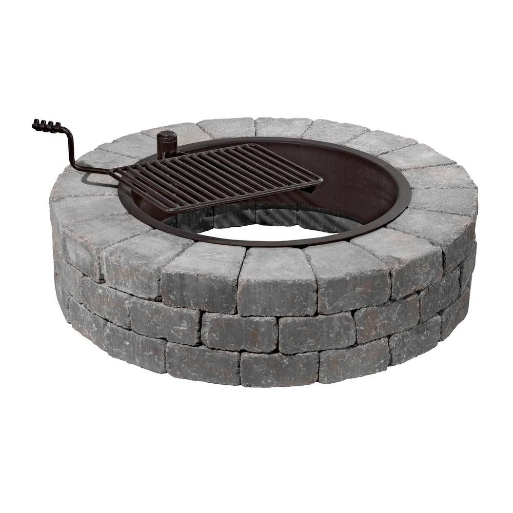 Necessories Grand 48 In Fire Pit Kit In Bluestone With Cooking within sizing 1000 X 1000