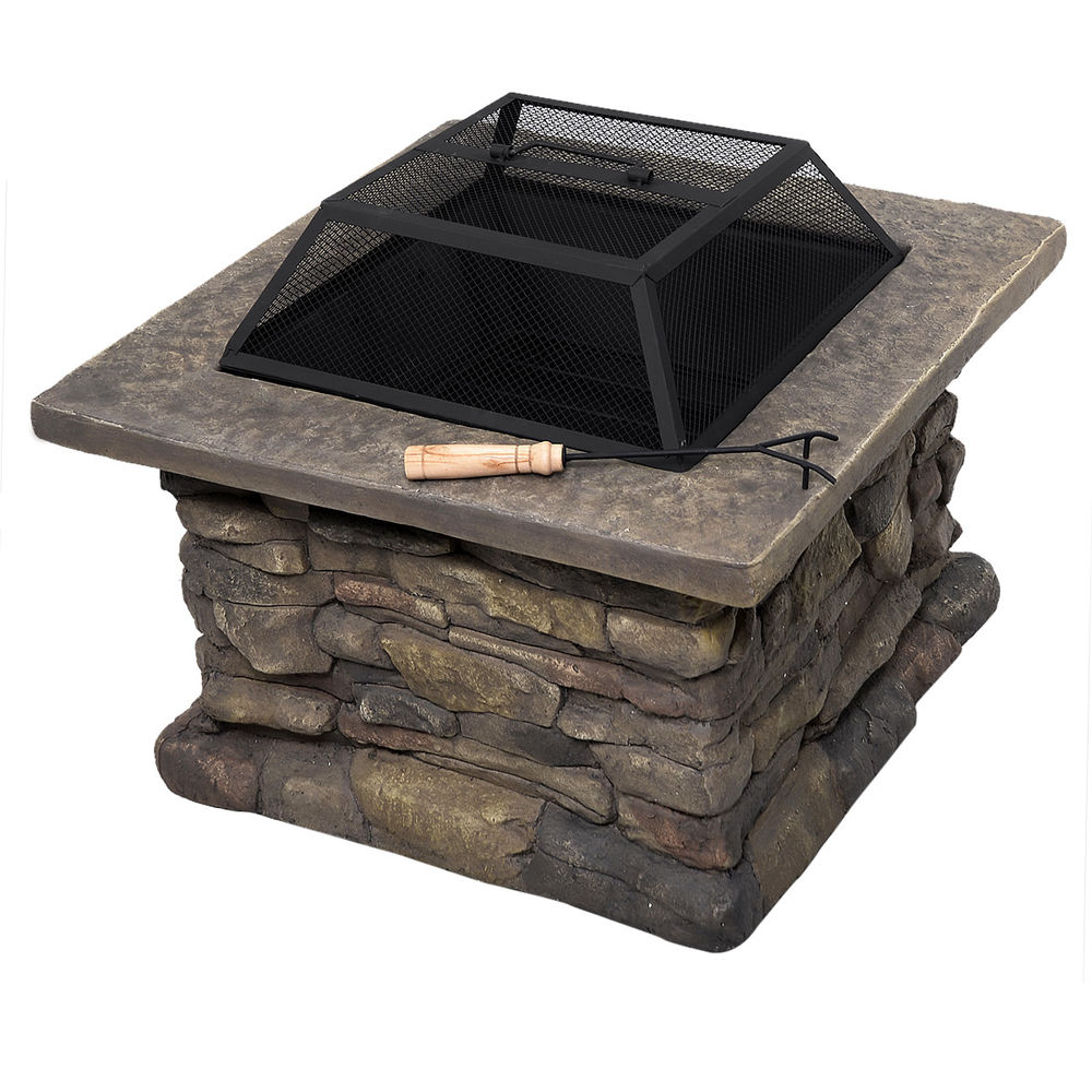 New 29 Outdoor Patio Firepit W Matte Steel Fire Bowl Stone Base within size 1000 X 1000