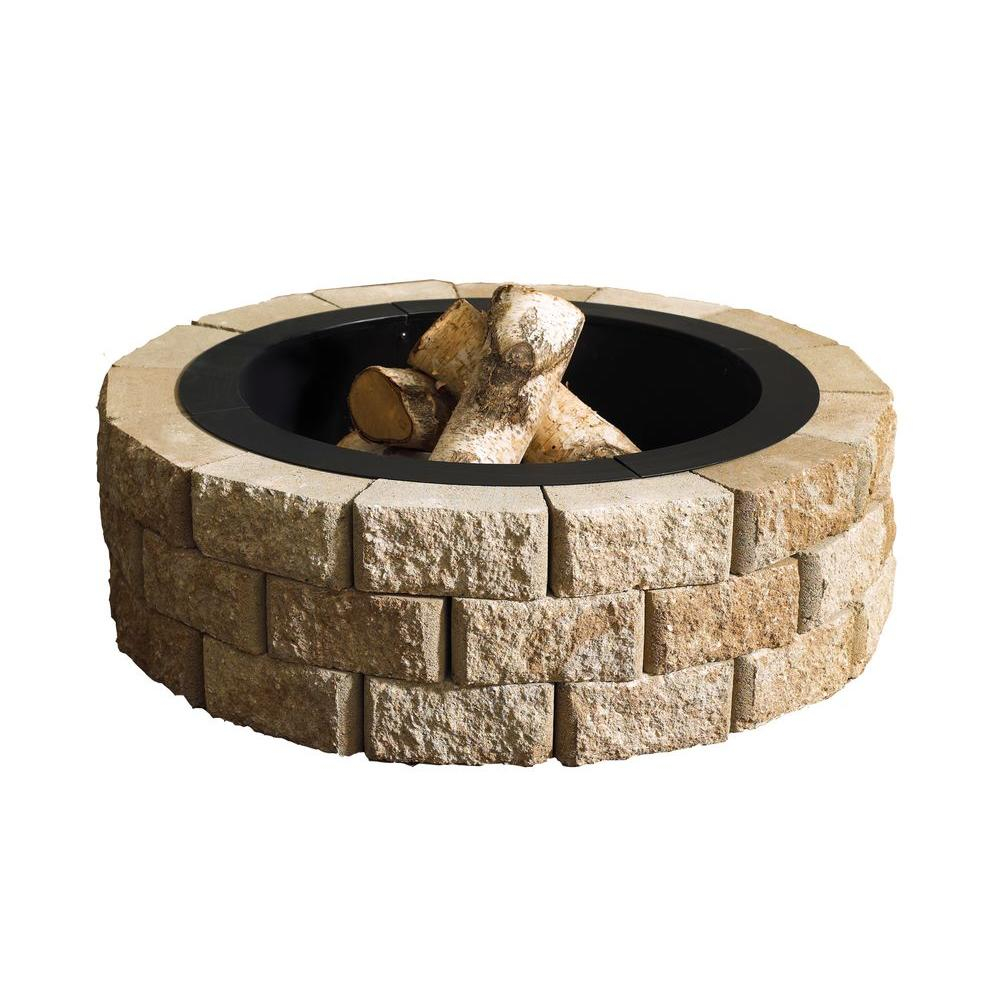 Oldcastle Hudson Stone 40 In Round Fire Pit Kit 70300877 The Home within sizing 1000 X 1000