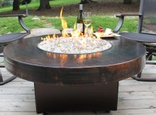 Oriflamme Gas Fire Pit Table Hammered Copper Somber Outdoor inside dimensions 2916 X 2083