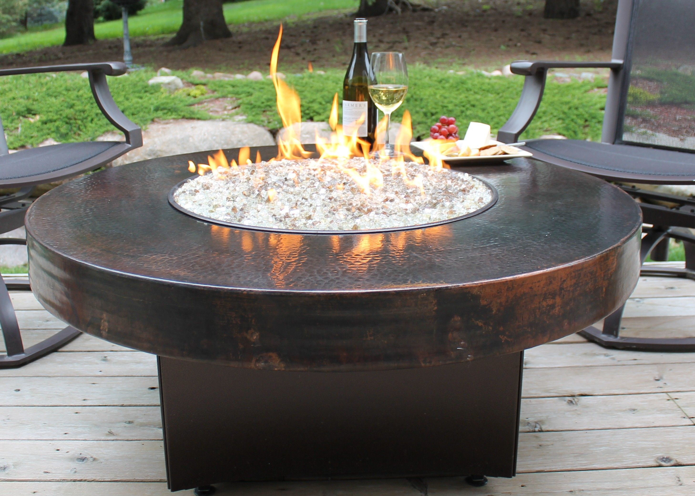 Oriflamme Gas Fire Pit Table Hammered Copper Somber Outdoor intended for size 2916 X 2083