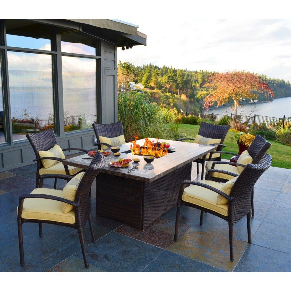 Outdoor Dining Table With Fire Pit In The Middle Fancy Pendant throughout measurements 945 X 945