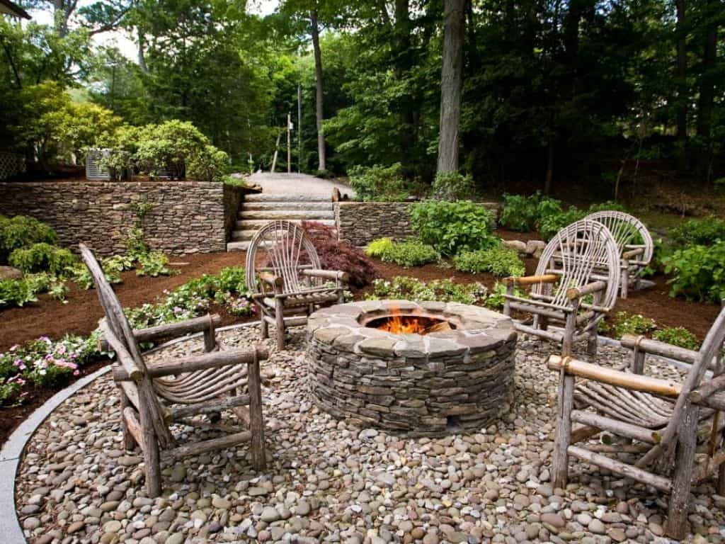 Outdoor Patio With River Rocks And Fire Pit Landscaping Around A pertaining to measurements 1024 X 768