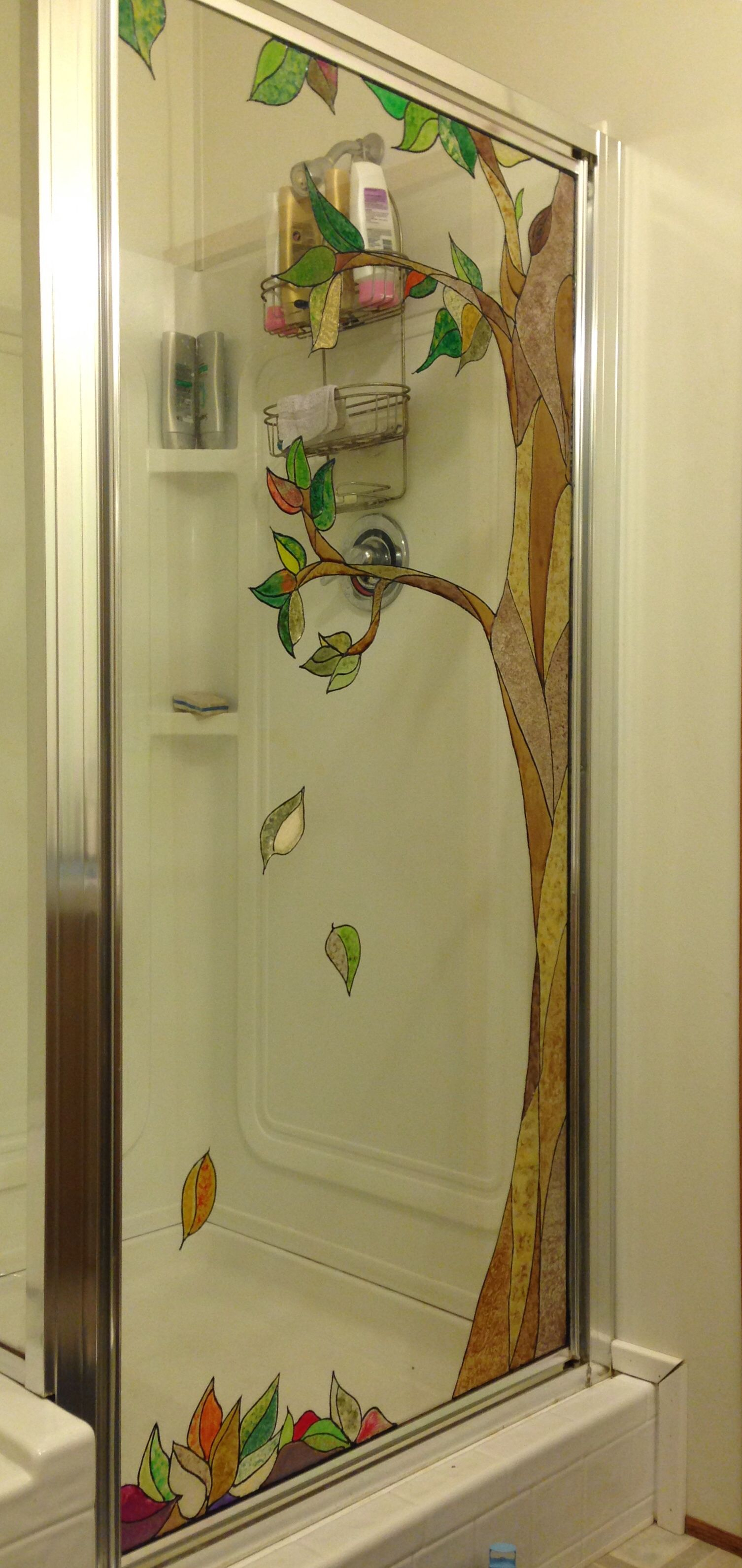 Painted Glass Shower Door With Plaid Stained Glass Paint Corcoran intended for dimensions 1506 X 3183
