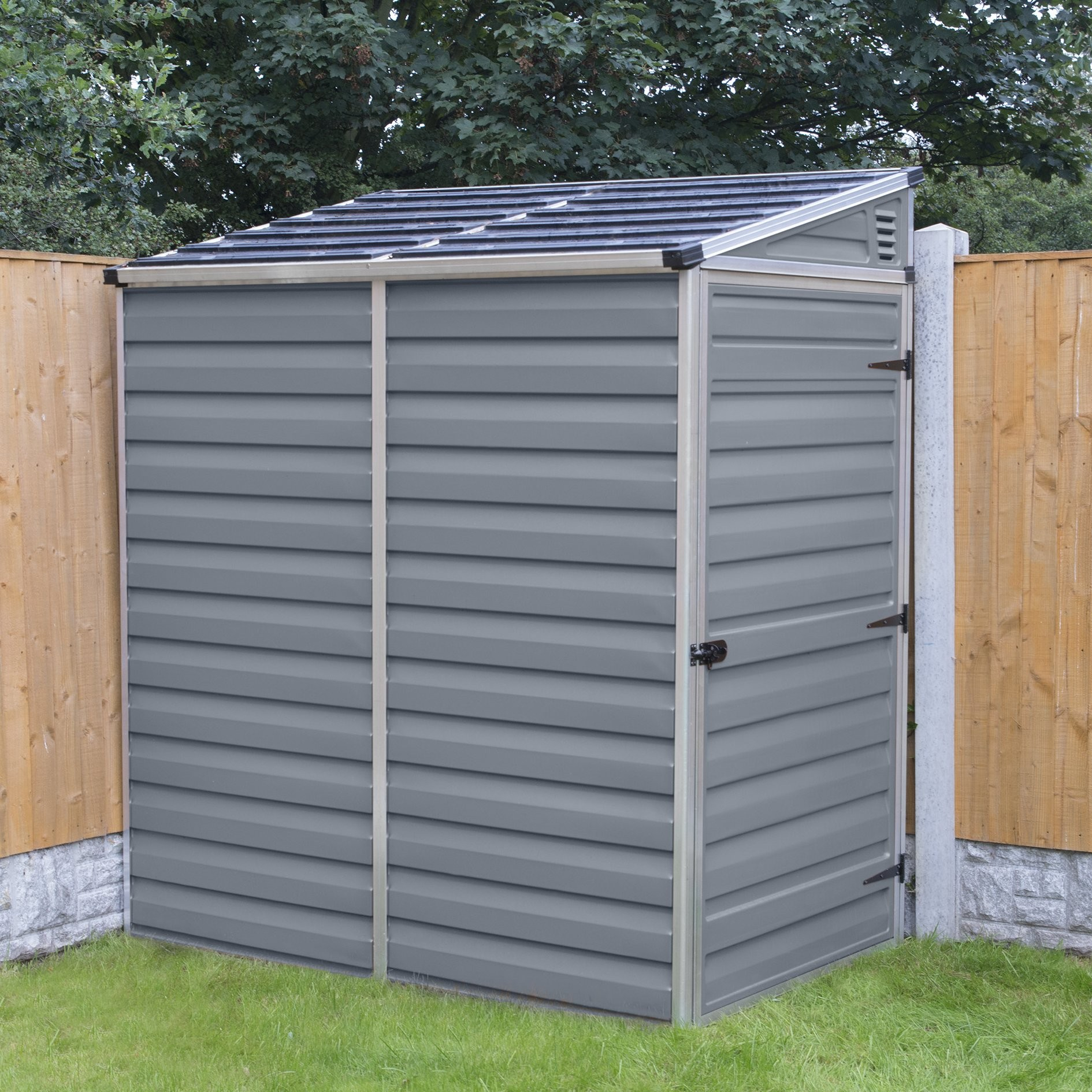Palram 4x6 Lean To Skylight Storage Shed Kit Gray Hg9600t with regard to proportions 1890 X 1890