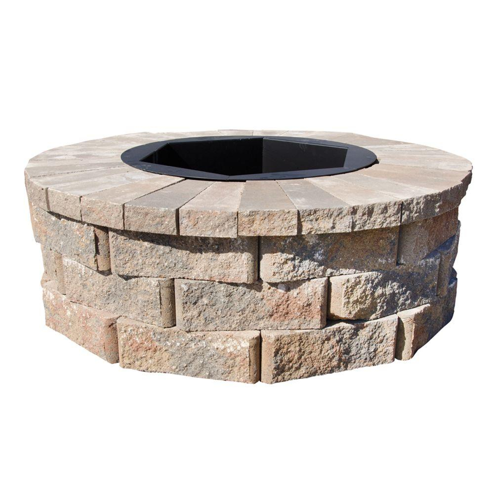 Pavestone 40 In W X 14 In H Rockwall Round Fire Pit Kit Palomino with proportions 1000 X 1000