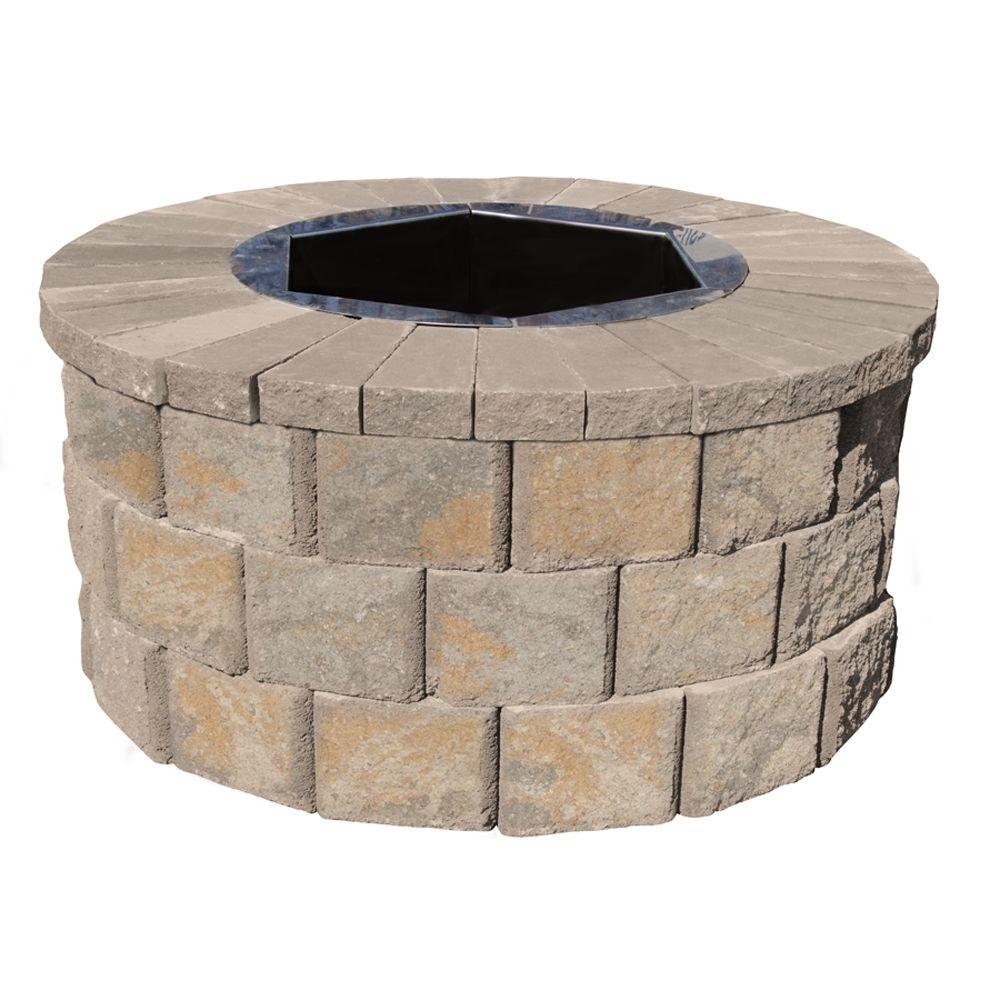 Pavestone 40 In W X 20 In H Rockwall Round Fire Pit Kit Yukon in measurements 1000 X 1000