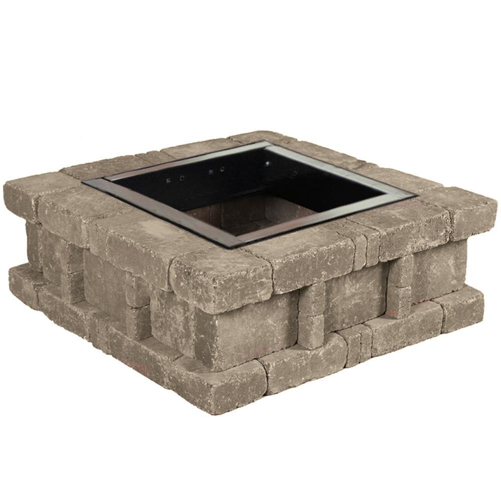Pavestone Rumblestone 385 In X 14 In Square Concrete Fire Pit Kit for size 1000 X 1000
