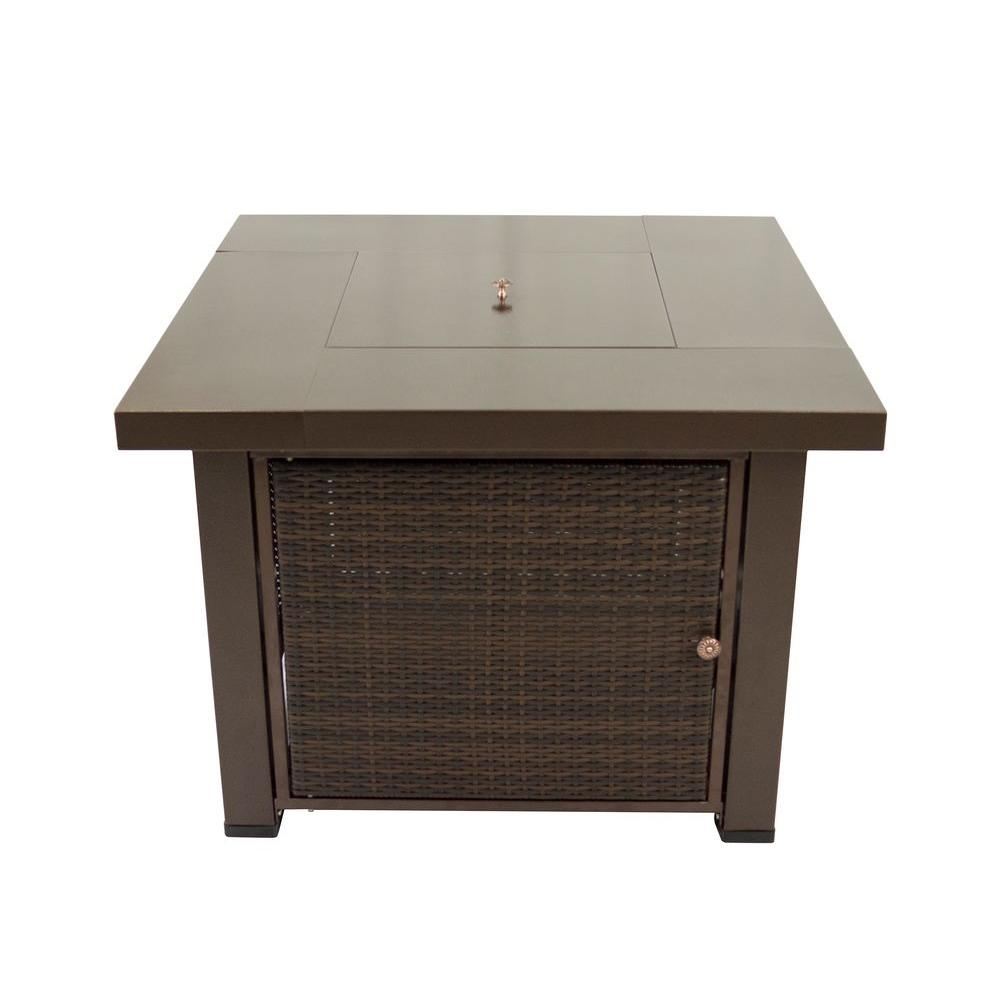 Pleasant Hearth Rio 38 In X 29 In Square Wicker And Steel Propane inside proportions 1000 X 1000