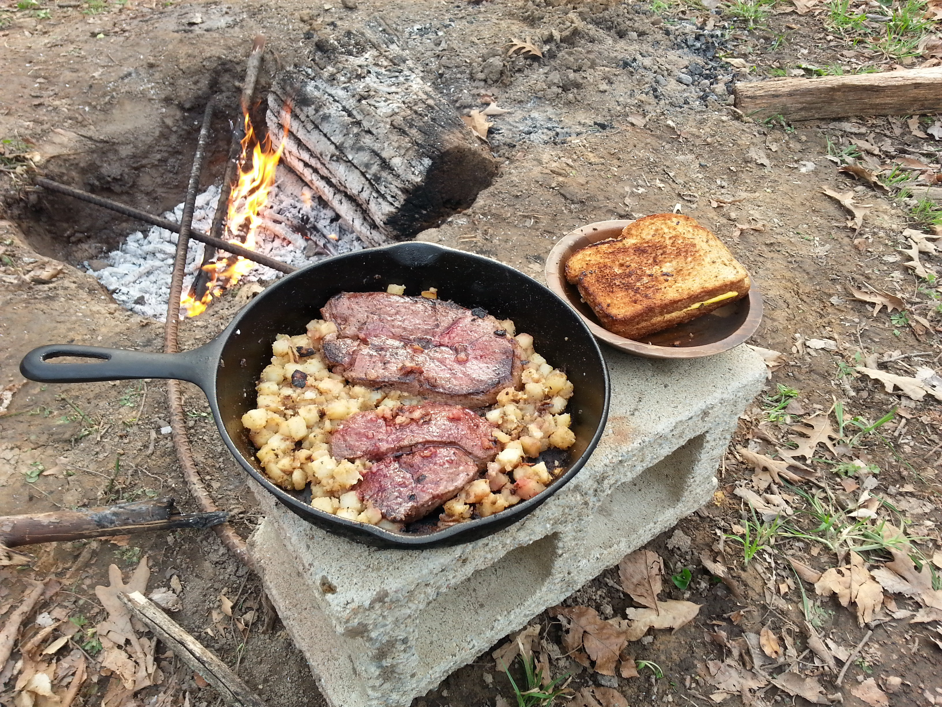 Potatoes With Deer Steak And Campfire Grilled Cheese Also Notice pertaining to sizing 3264 X 2448