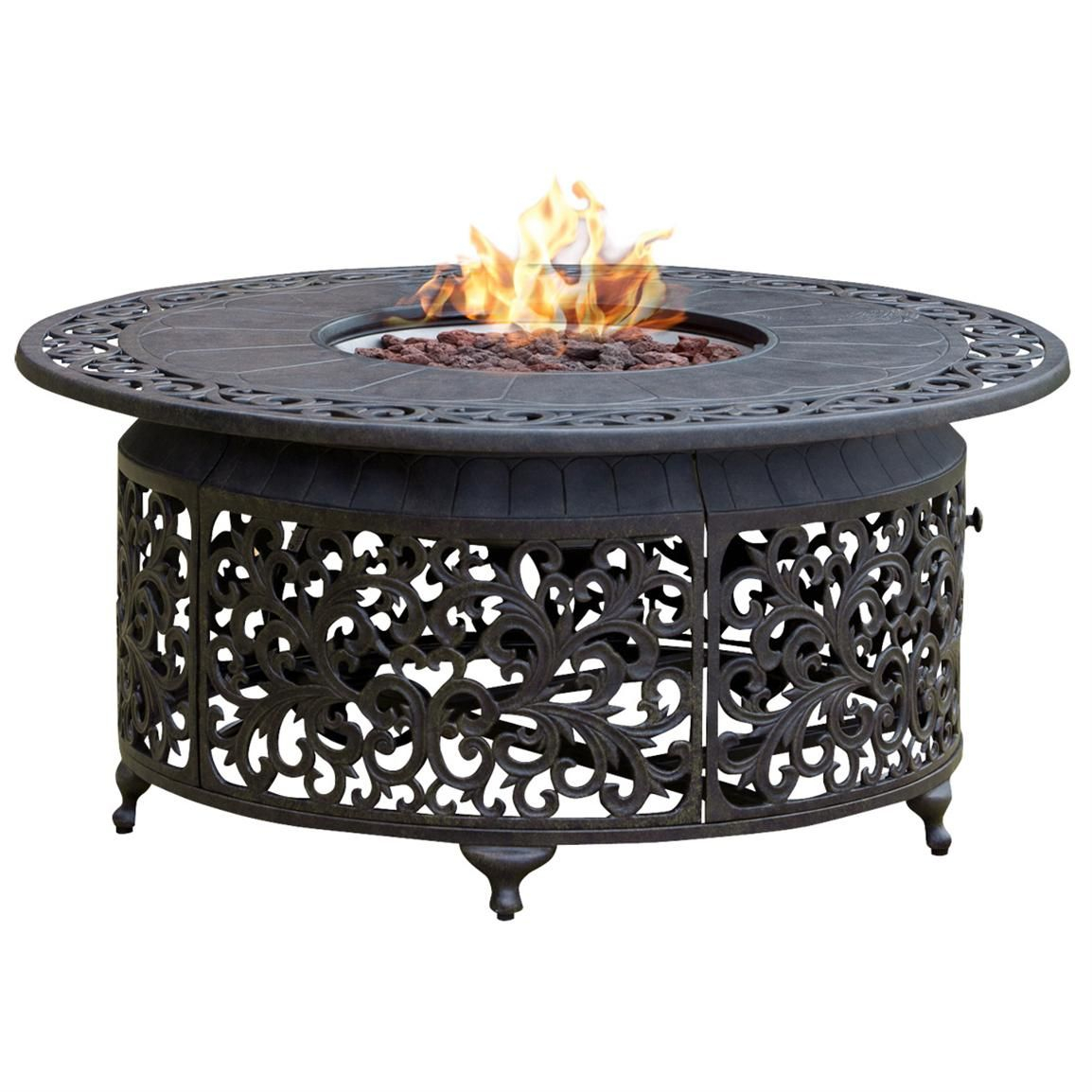 Propane Cast Aluminum Fire Pit With Scroll Design Click To View Full with measurements 1154 X 1154