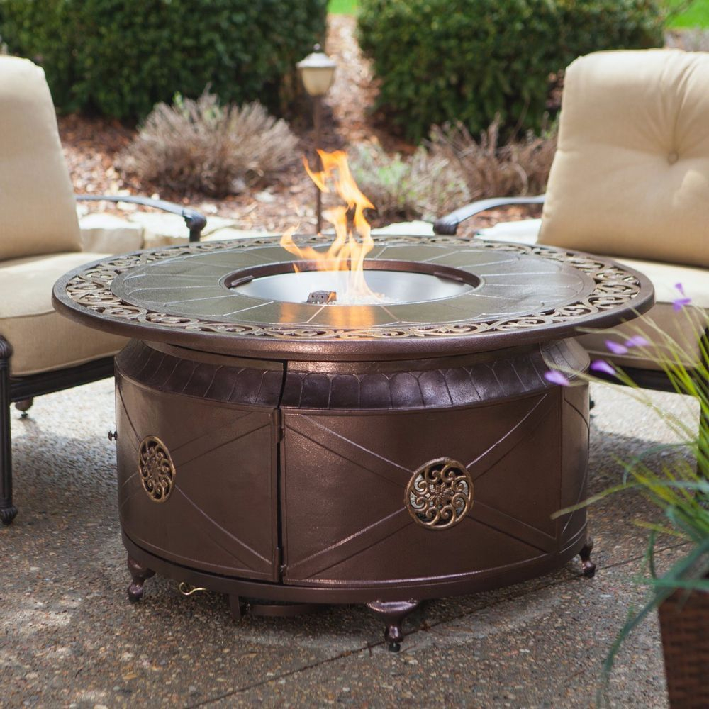 Propane Gas Fire Pit Fire Bowl Round Table Glass Beads Patio Deck regarding proportions 1000 X 1000